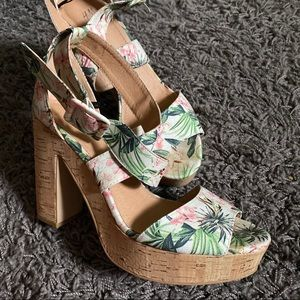 Tropical Print Heeled Sandal/Wedge